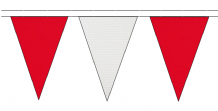 RED AND WHITE TRIANGULAR BUNTING - 10m / 20m / 50m LENGTHS
